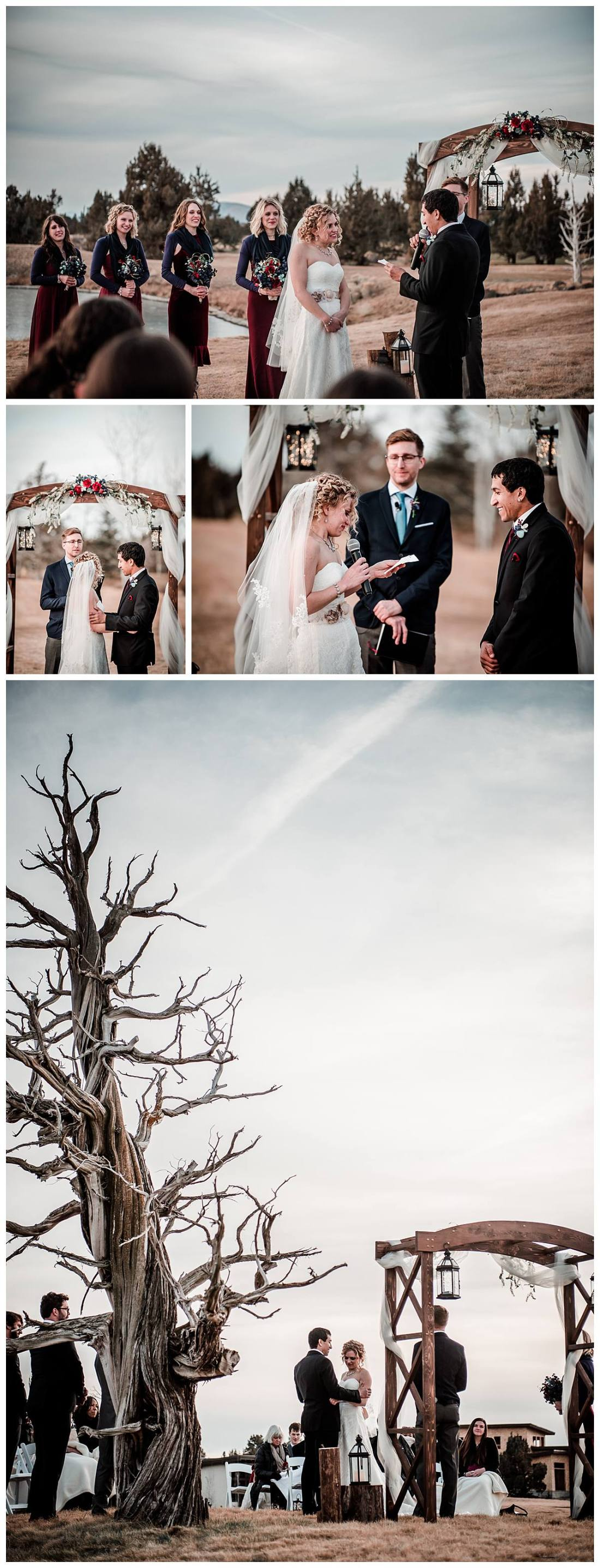 Outdoor wedding pic Pronghorn golf course Dionne Kraus Photography