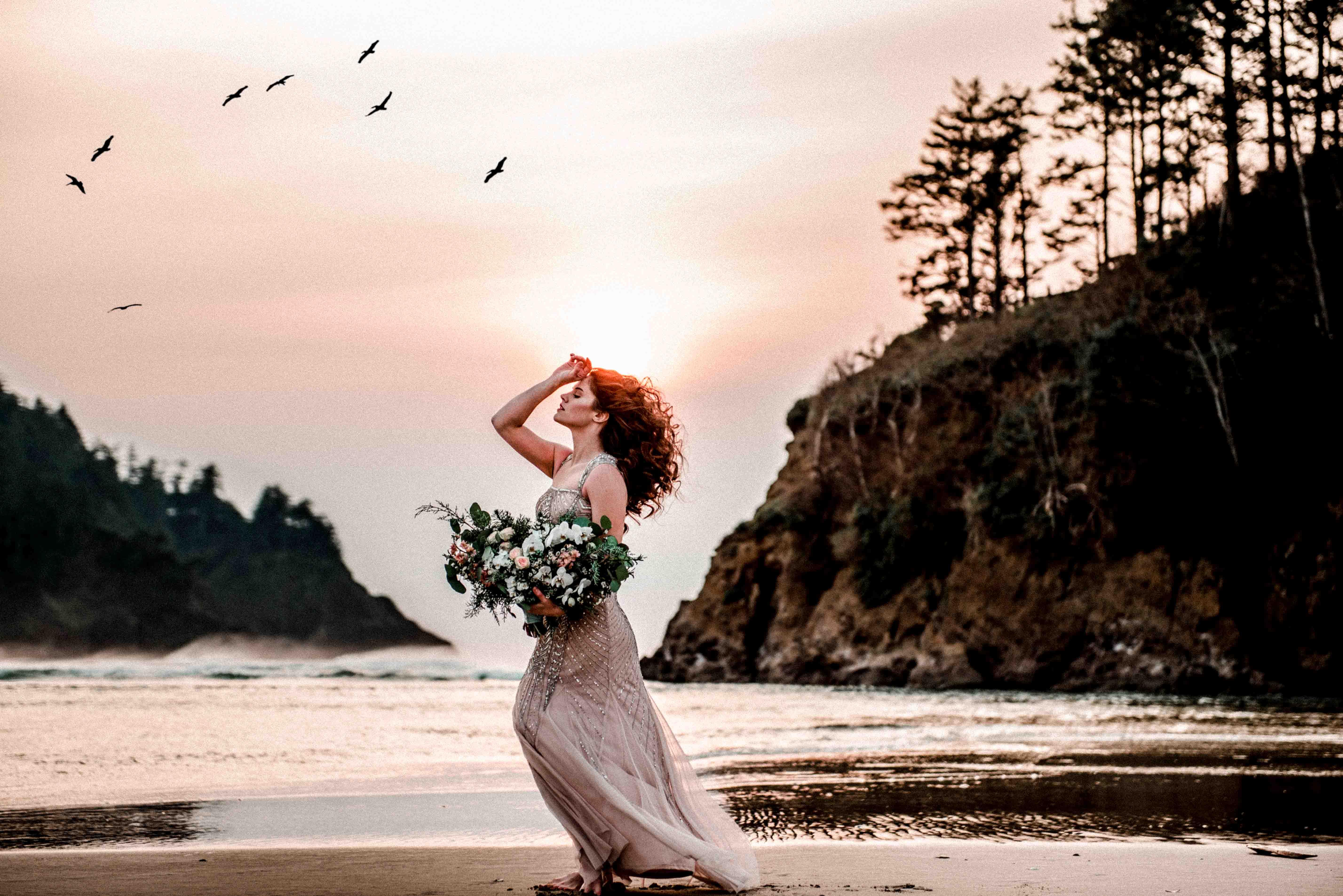 Bride portrait on the Oregon coast by Dionne Kraus Photography