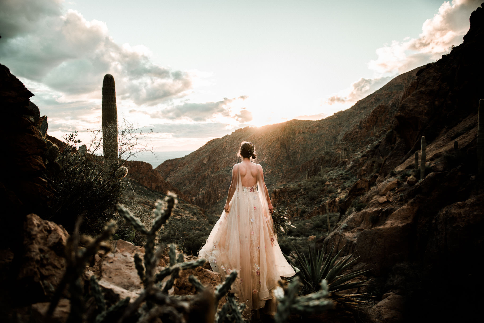 Picture of a bride in her wedding dress looking out over the Oregon mountains during sunset.
