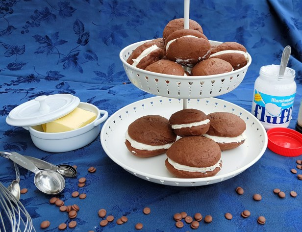 Whoopies pies ready for chocolate dipping