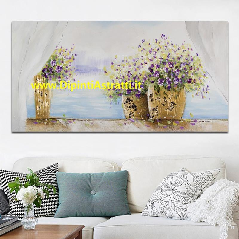 Quadro moderno finestra con vasi di fiori dipintiastratti - Quadro finestra ...