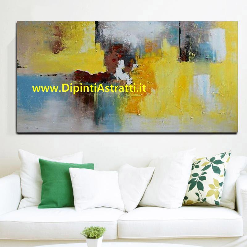 Quadro moderno giallo arredamento salone dipintiastratti for Arredamento salone moderno