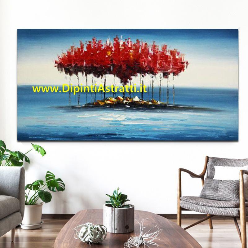 Quadro moderno paesaggio con isola astratta con alberi for Quadri dipinti a mano paesaggi