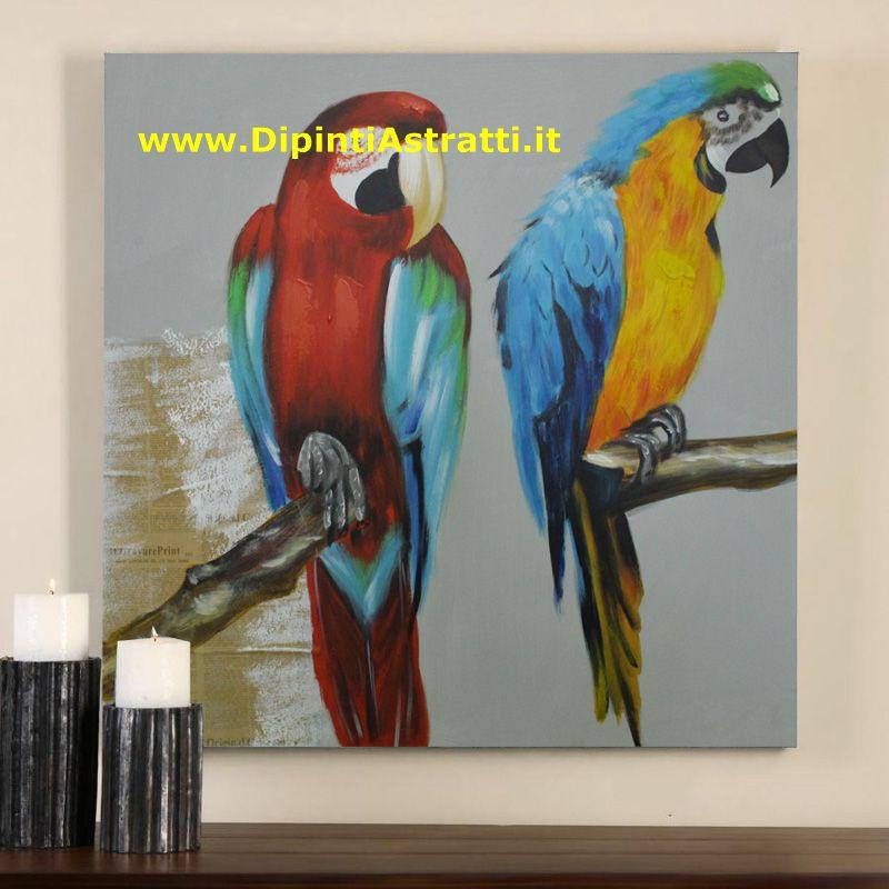 Quadri su tela con pappagalli colorati dipintiastratti for Dipinti figurativi moderni
