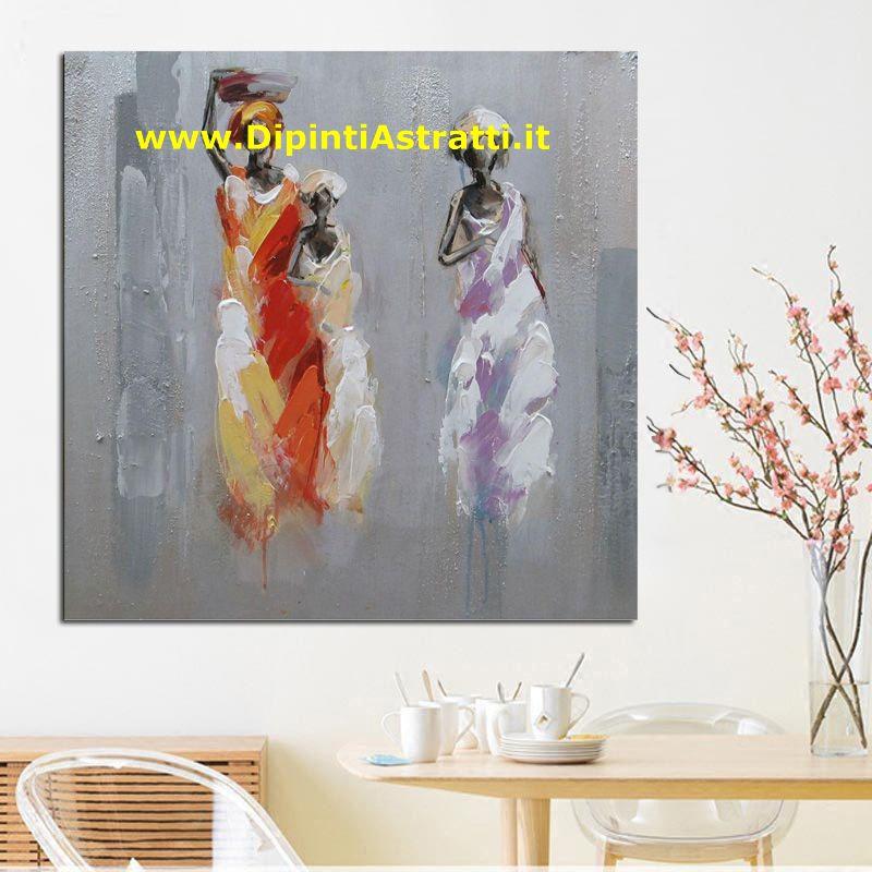 Quadro su tela moderno con donne africane dipintiastratti for Dipinti figurativi moderni