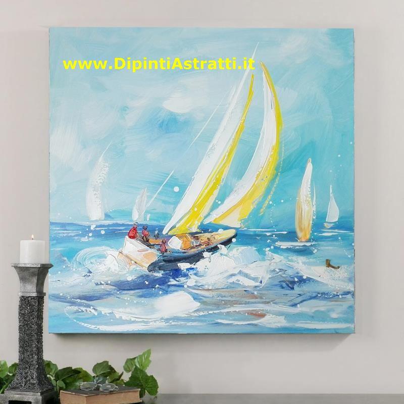 Quadro su tela regata barche a vela dipintiastratti for Quadri dipinti a mano paesaggi