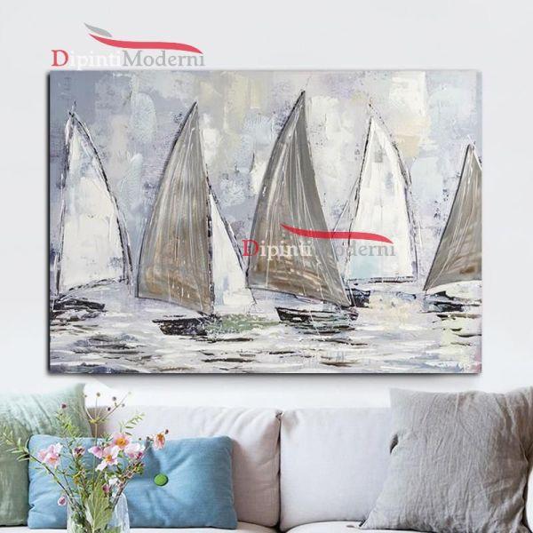 Dipinto a mano con barche a vela mare regata