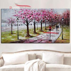 Dipinto a mano passeggiata nel sentiero alberato fiori rosa