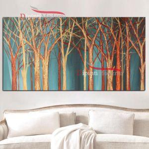 Quadri astratti con alberi incantati sfondo azzurro