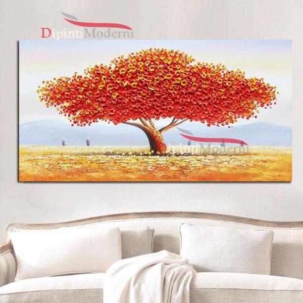 Quadri con grande albero chioma rossa rilievo
