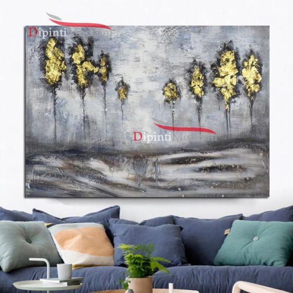 Quadri con paesaggio alberi gialli astratti