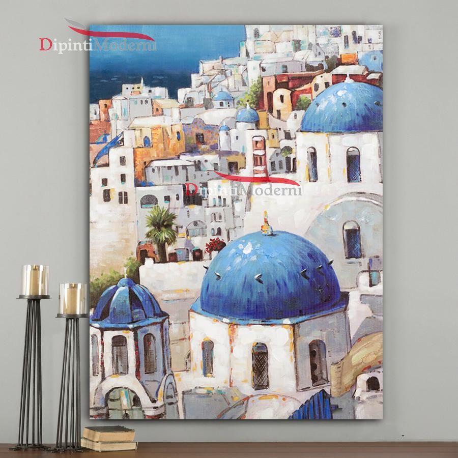 quadri dipinti a mano santorini grecia dipinti moderni