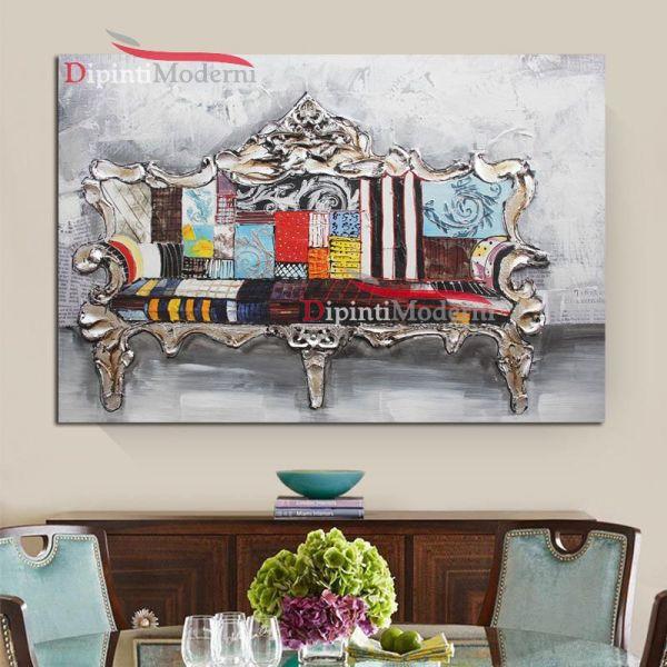 Quadri moderni divano barocco colorato dipinti moderni for Divano barocco