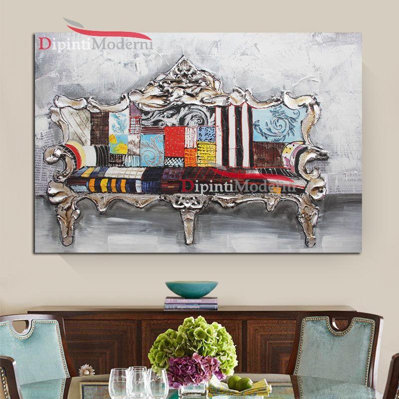 Quadri moderni divano barocco colorato - Dipinti Moderni