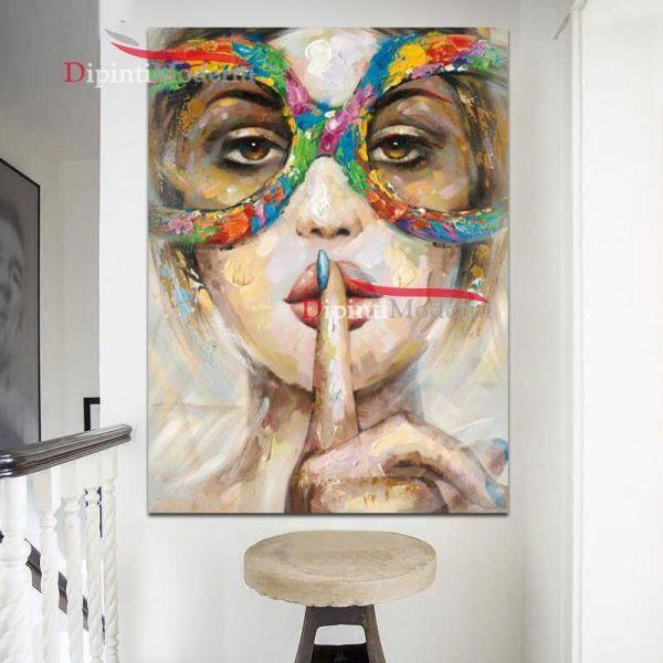 Quadri moderni silenzio shut up dipinto a mano