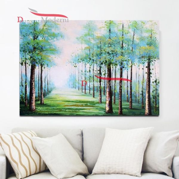 Quadri su tela paesaggio alberi e prato verde