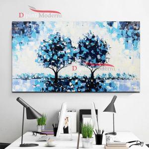 Quadro su tela alberi azzurri