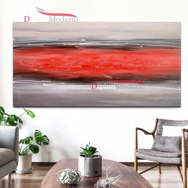 Quadro su tela astratto rosso grigio