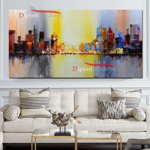 Quadro su tela dipinto a mano paesaggio citta palazzi