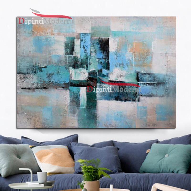Dipinti astratti spatolato celeste dipinti moderni for Quadri dipinti a mano paesaggi
