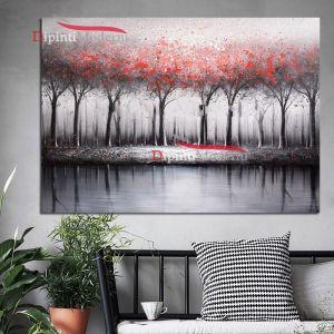 dipinto a mano con paeaggio astratto alberi rossi