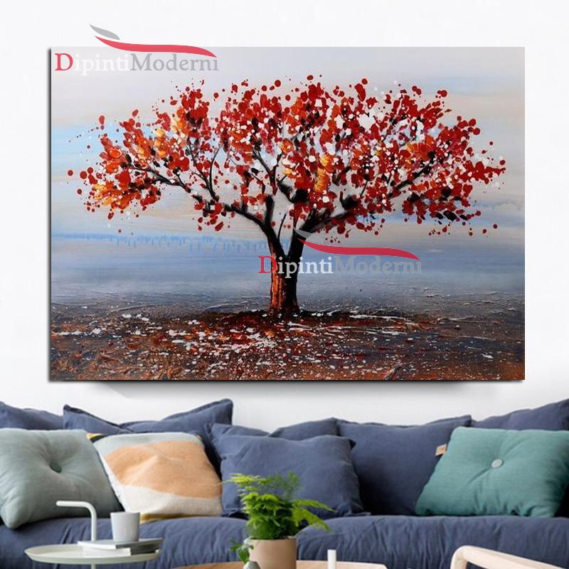 Dipinto con paesaggio albero chioma rossa dipinti moderni for Chioma albero