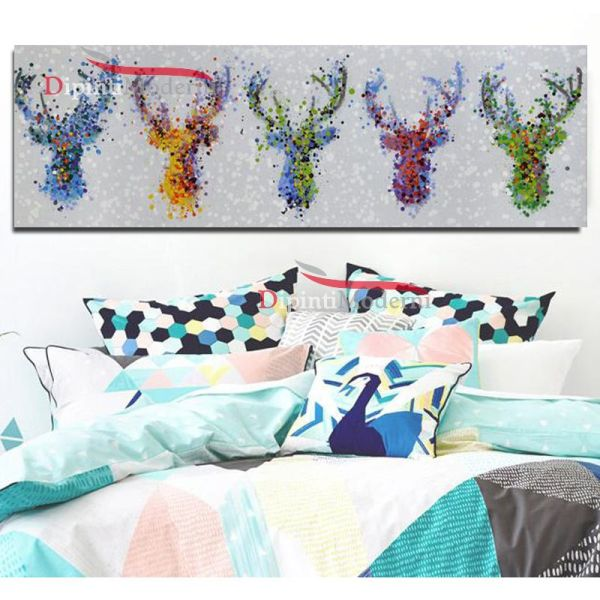 Quadri astratti teste di cervo colorate