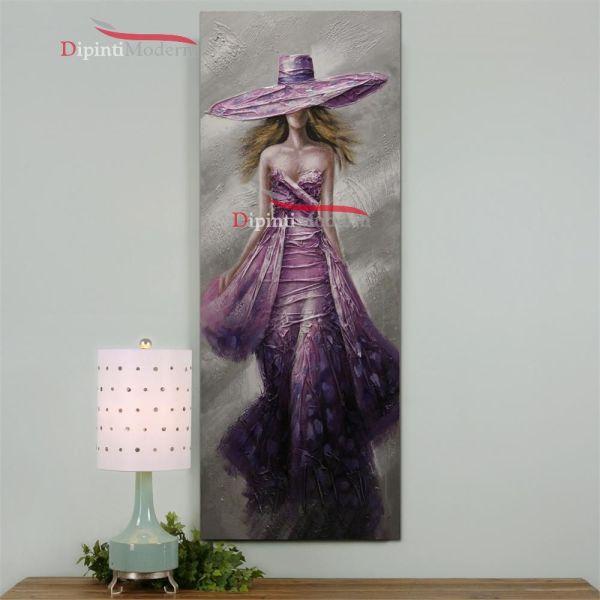 Quadri moderni verticali donna abito cerimonia viola