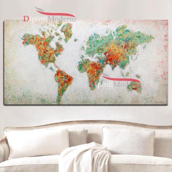 Quadri su tela mappa del mondo schizzi di pittura