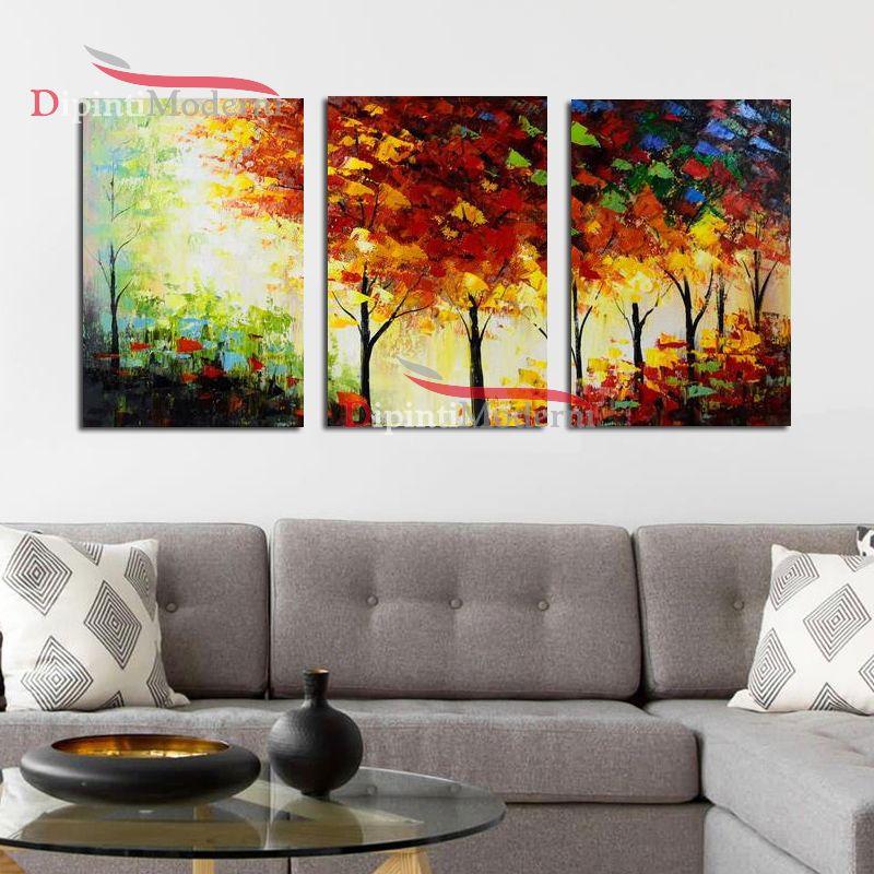 Dipinti a mano alberi toni caldi tele moderne dipinti for Quadri dipinti a mano paesaggi