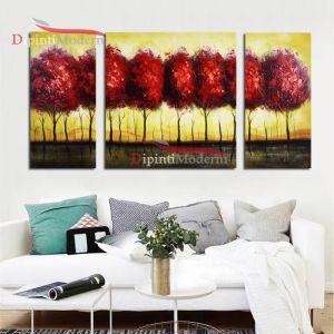 Dipinti a mano moderni alberi chioma rosso