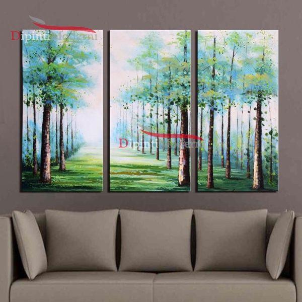 Dipinti moderni su tela filare di alberi verdi