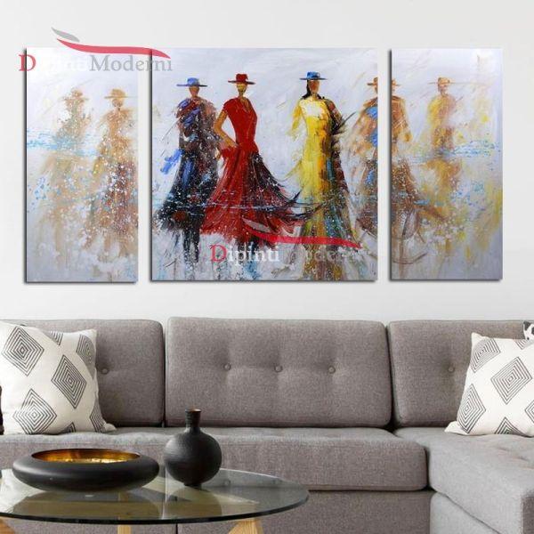 Dipinto donne eleganti cerimonia abiti rosso giallo moderno