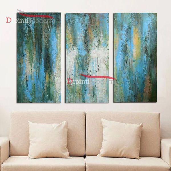 Dipinto turchese olio su tela decorativo soggiorno moderno