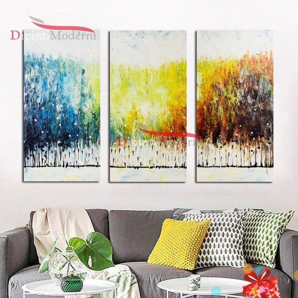 Quadri colori sfumati giallo blu bianco dipinti astratti olio su tela