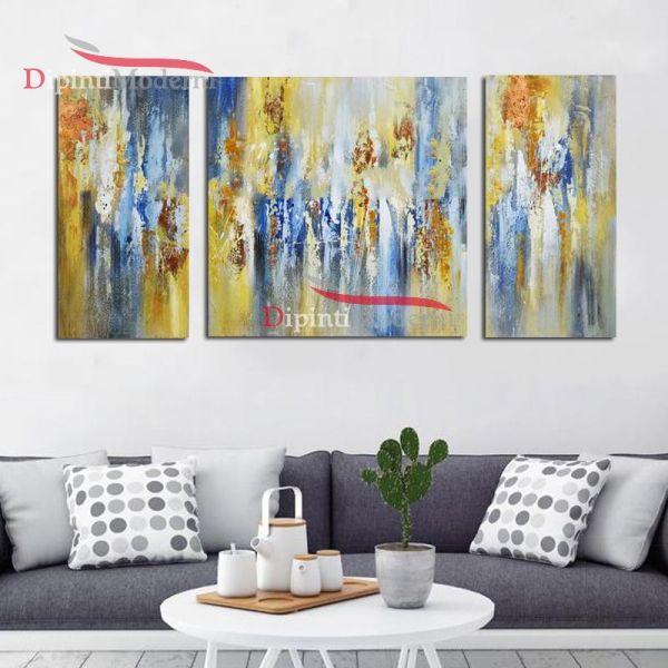 Quadri gialli moderni dipinti a mano