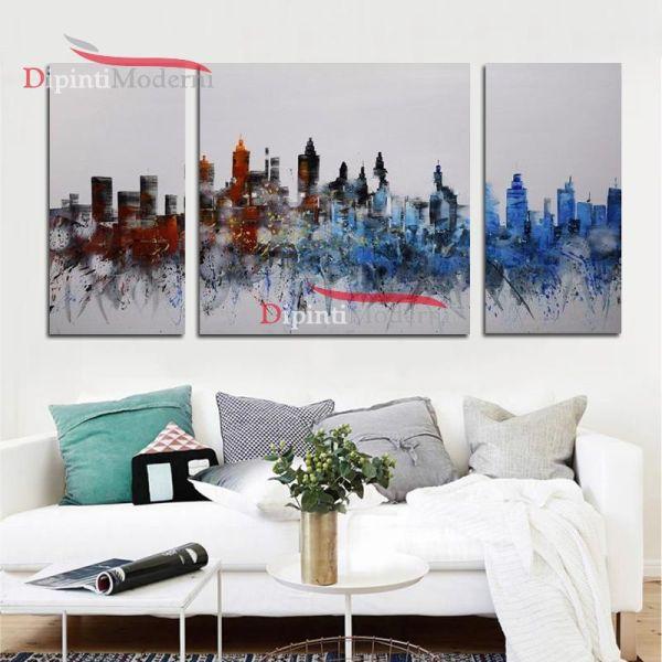 Quadri moderni grattacieli dipinti a mano