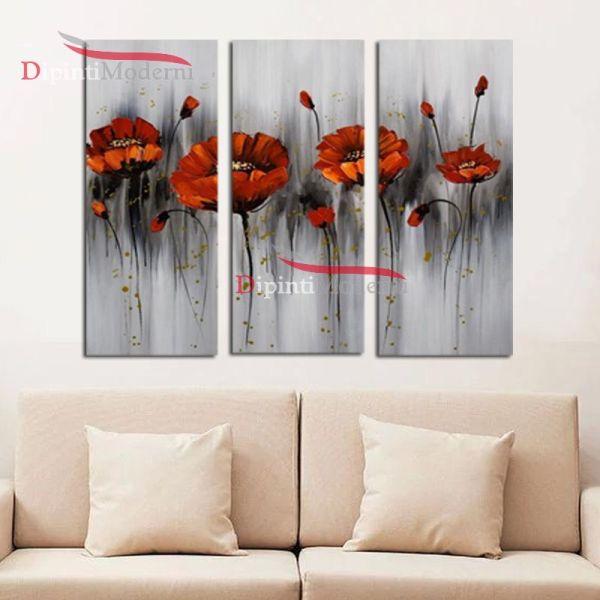 Quadro fiori rossi moderni olio su tela sfondo grigio for Quadri fiori olio
