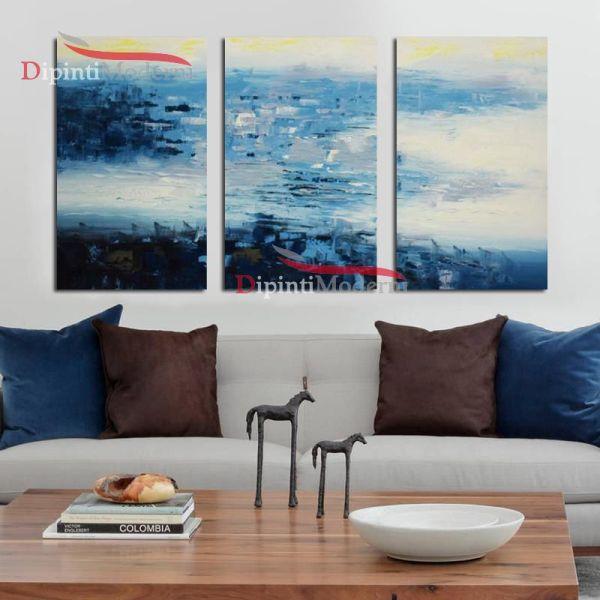 Quadri colori azzurri astratti decorativi ufficio soggiorno