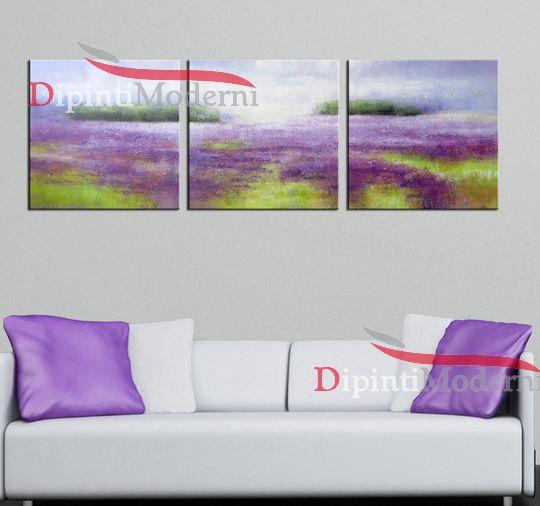 Quadri moderni campo lavanda dipinti lilla olio su tela