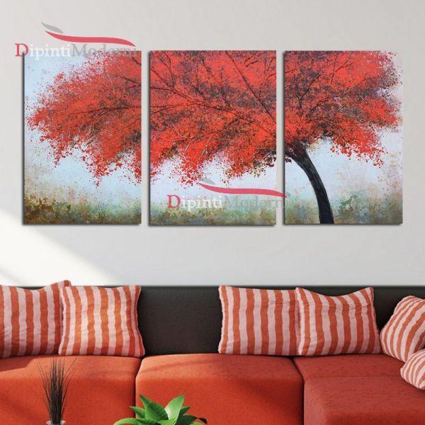 Quadri moderni rosso albero pittura su tela