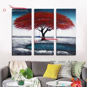 Quadro albero rosso altalena moderno dipinto a mano su tela