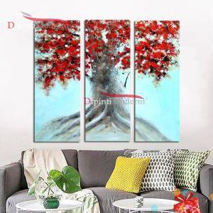 Dipinti moderni albero secolare chioma rossa