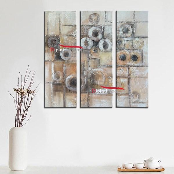 Dipinti moderni quadrati cerchi rilievo pittura colori tenui