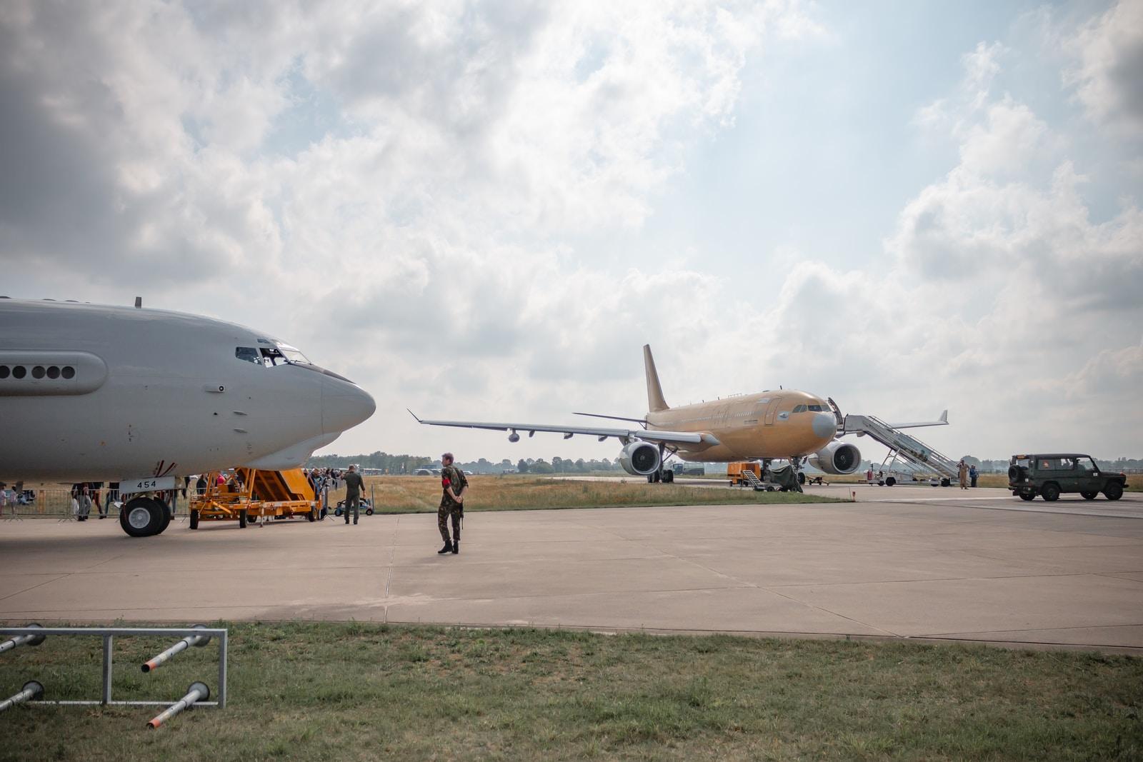 man near airplane