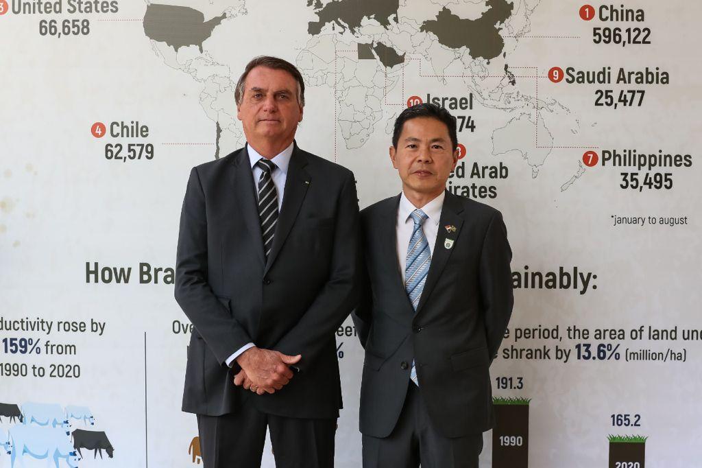 Presidente Bolsonaro e Embaixador de Singapura, Desmond Ng