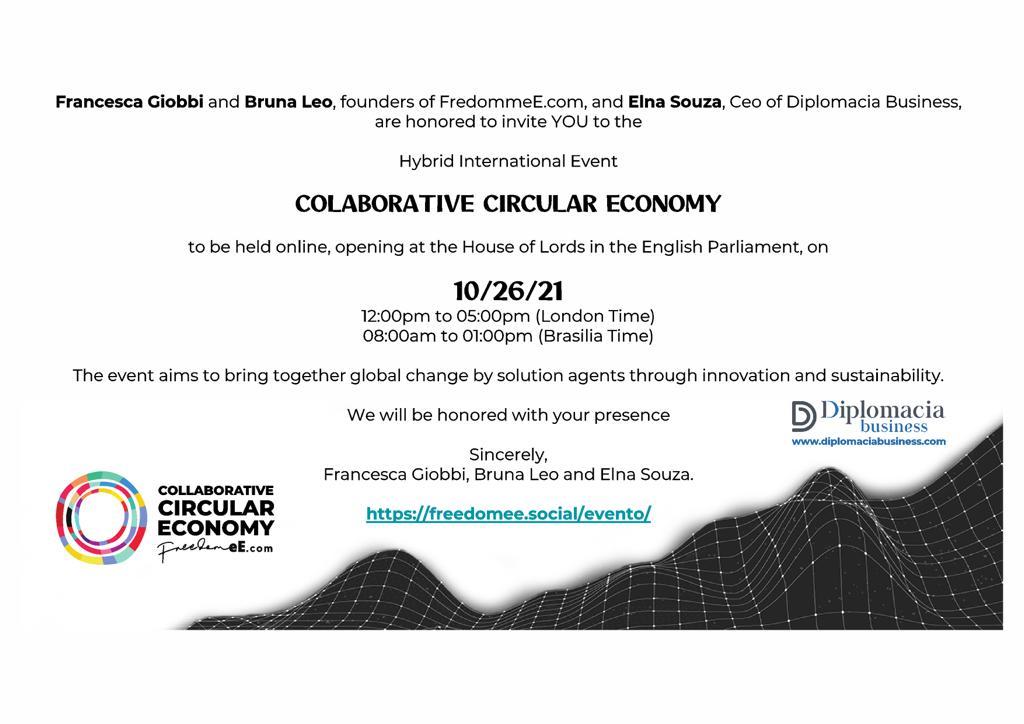 Convite para o evento híbrido internacional Economia Circular Colaborativa