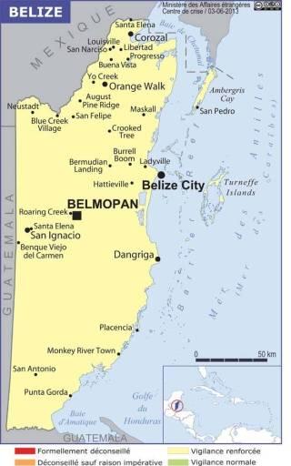 Map of Belize (Source » France, June 2021)