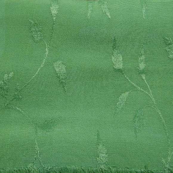 Medium green solid hand-dyed rayon jacquard
