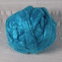 Roving, Tussah Silk, per yard, turquoise, feb2019